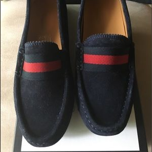 NWT AUTHENTIC BLUE SUEDE GUCCI LITTLE BOYS LOAFER